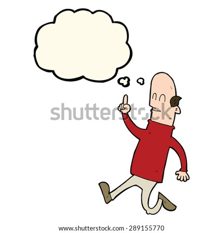 cartoon bald man with idea with thought bubble - stock photo