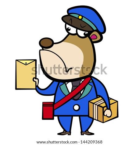cartoon bear postman with letter and package.