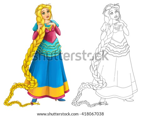 Cartoon beautiful girl smiling - isolated - with coloring page - illustration for children - stock photo