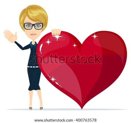 Cartoon beautiful young blond woman Confesses His Love and Gives his Heart joyfully welcomes you. Stock illustration - stock photo