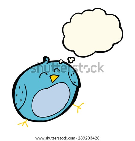cartoon bird with thought bubble - stock photo