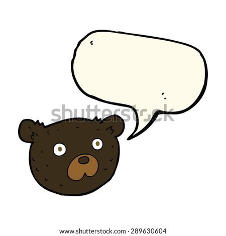 cartoon black bear with speech bubble - stock photo