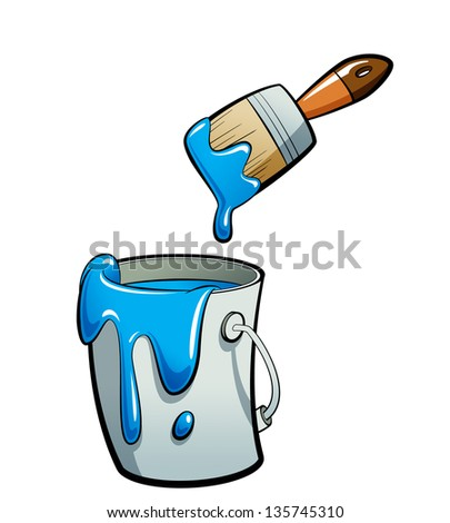 Cartoon blue color paint in grey bucket , painting with a brown brush dripping