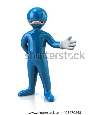 Cartoon blue man character with mustache and arm out in a welcoming gesture - stock photo