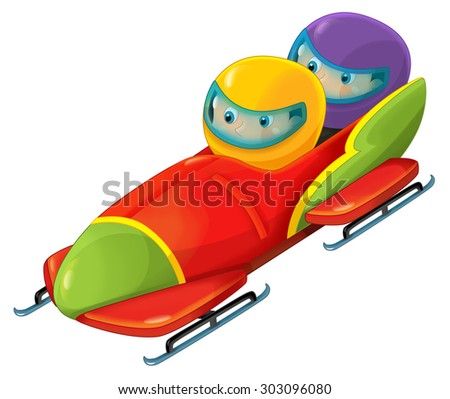 Cartoon bobsleigh with boy and girl - illustration for the children