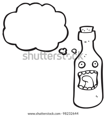 cartoon bottle character with thought bubble - stock photo