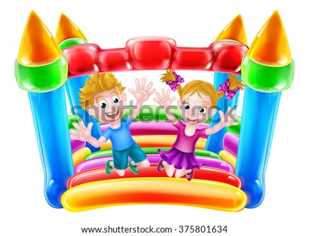 Cartoon boy and girl jumping on a bouncy castle  - stock photo
