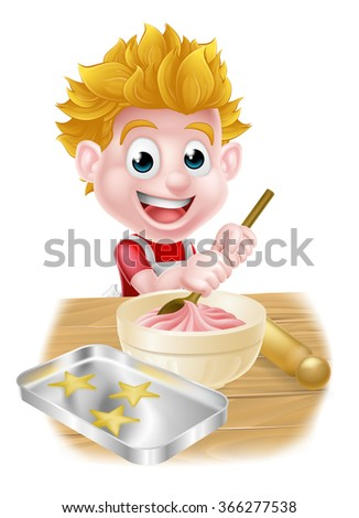Cartoon boy baking and cooking as a chef in the kitchen - stock photo