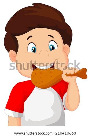 Cartoon boy eating fried chicken. - stock photo