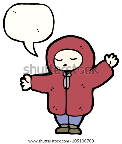 cartoon boy in rain coat