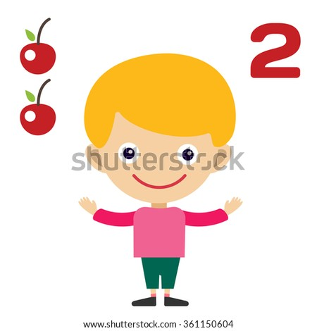 Cartoon boy learning game card. Education math cards with fruits and vegetables. Kids boy help to kids learning numbers. Kids school materials. Easy count game. Boy earning funny numbers - stock photo