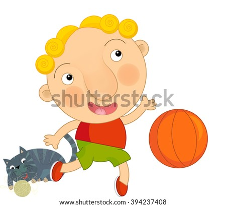 Cartoon boy playing basketball with his cat - isolated - illustration for children - stock photo