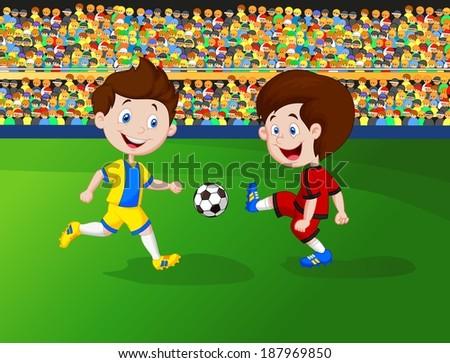 Cartoon boy playing football - stock photo