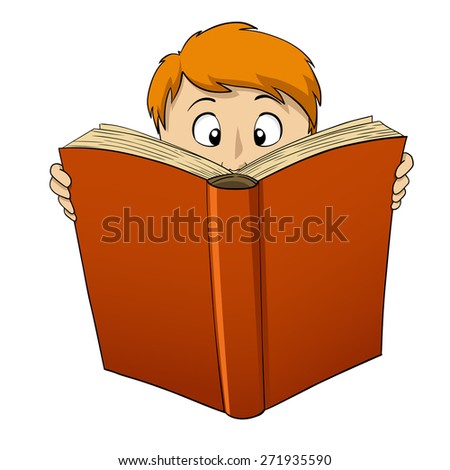 Cartoon boy reading big red book isolated on white - stock photo