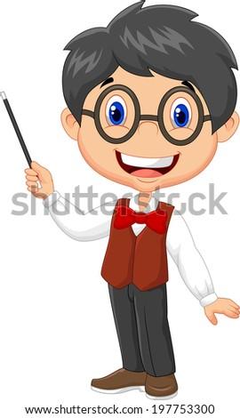 Cartoon boy teaching - stock photo