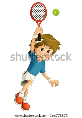 Cartoon boy training tennis - illustration for children