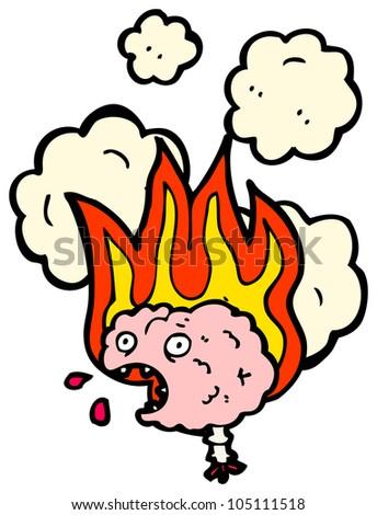 cartoon brain on fire - stock photo