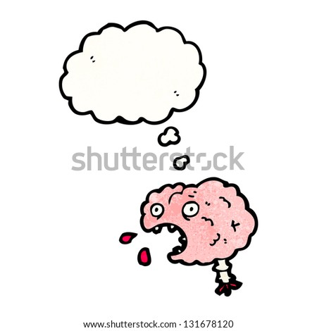 cartoon brain with thought bubble - stock photo
