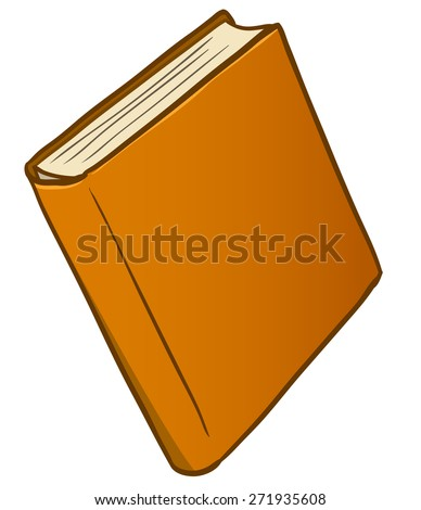 cartoon brown book isolated on white background - stock photo