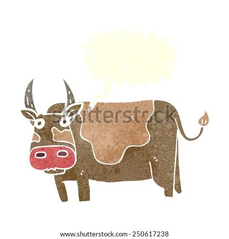 cartoon bull with speech bubble - stock photo