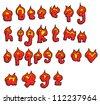 cartoon burning alphabet set - stock photo