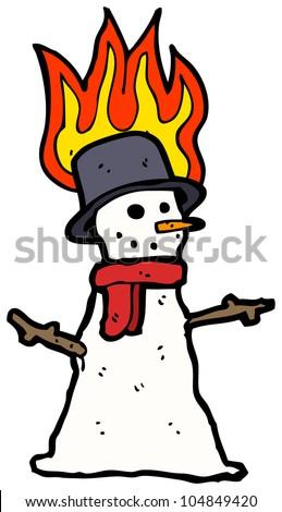 cartoon burning snowman - stock photo