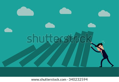 Cartoon business executive pushing hard against falling deck of domino tiles. Creative illustration for concept on determination and resilience   Raster version.  - stock photo