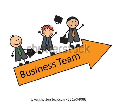 Cartoon business team of three men standing on the arrow - stock photo