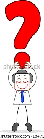 Cartoon businessman happy and holding an question mark. - stock photo