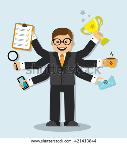 Cartoon businessman has 6 arms and manages to do all the work of the case  - stock photo