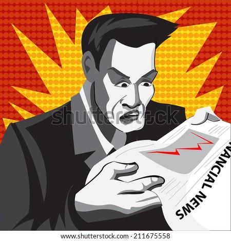 Cartoon businessman in panics. Comics style. - stock photo