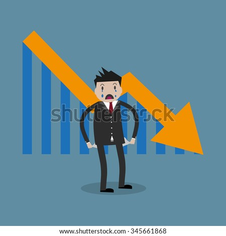 cartoon businessman standing with empty pockets. Arrow pointing downward. Loser, broke concept. illustration in flat design on blue background - stock photo
