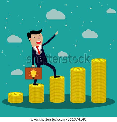 Cartoon Businessman step on stack of gold coin with case of idea like ladder of success. illustration in flat design on green backgound,  Raster version - stock photo