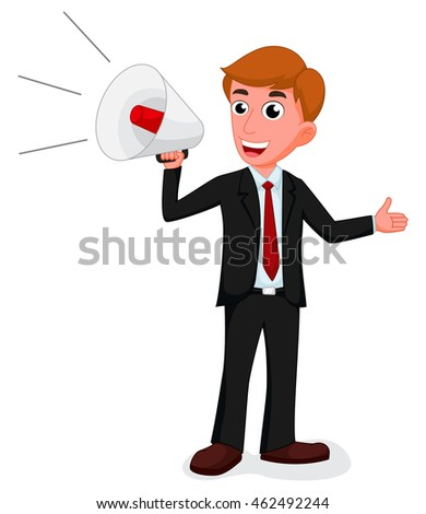 Cartoon businessman talking with a megaphone