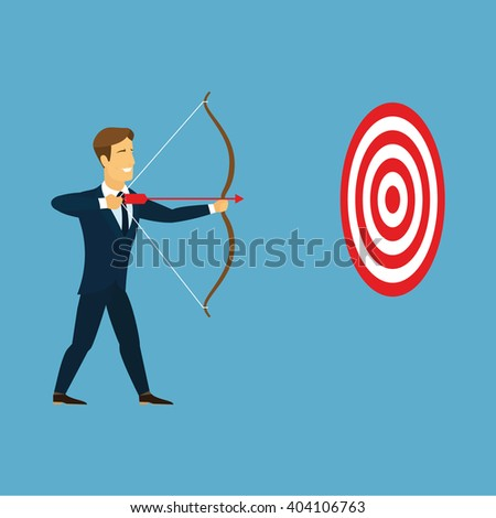 Cartoon businessman with bow and arrow hitting the center bulls-eye in archery target. Businessman take aim red arrow from a bow in red and white circular goal. Business target and goal concept . Logo