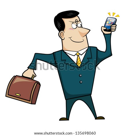 Cartoon Businessman with Briefcase and Cell Phone