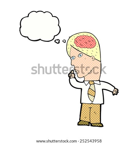 cartoon businessman with huge brain with thought bubble - stock photo