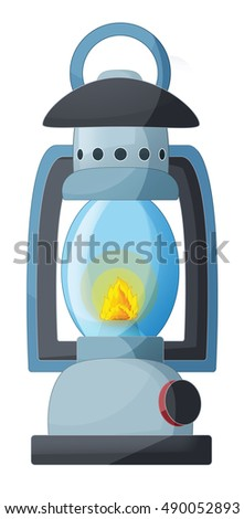 Cartoon camp lamp - isolated - illustration for children