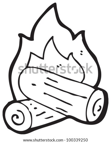 cartoon campfire - stock photo