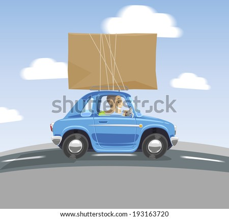 cartoon car carries a box on the roof - stock photo