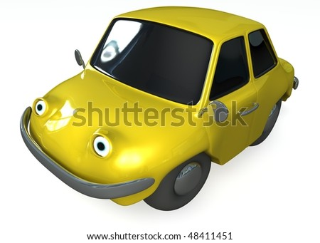 Cartoon car 3d isolated on white background