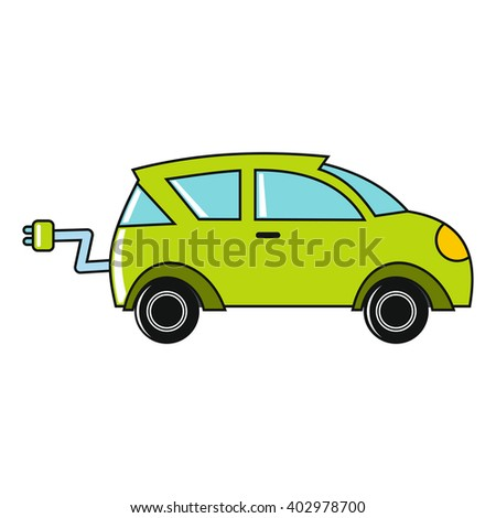 Cartoon car icon on white background. Flat design illustration for web banner, web and mobile, infographics.