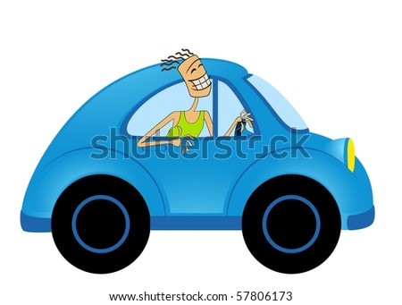 cartoon car on white background and men