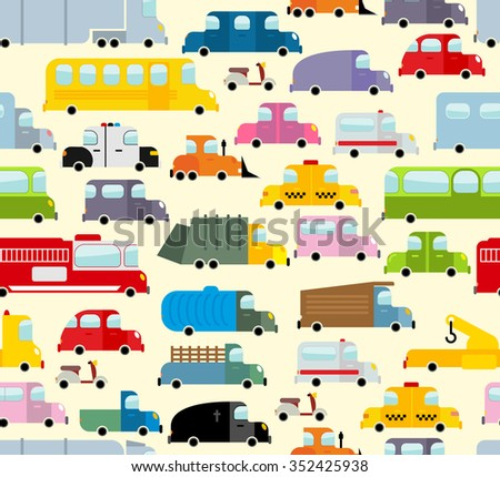 Cartoon car pattern. City traffic jam. Diverse ground Transoprt. Background seamless toy car. Passenger and freight transport. Hearse and ambulance car.  - stock photo