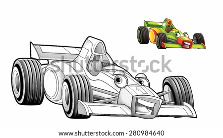 Cartoon car - racing vehicle - coloring page - illustration for the children