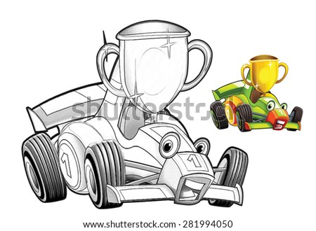 Cartoon car - racing vehicle - coloring page - illustration for the children - stock photo