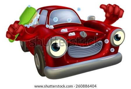 Cartoon car wash mascot with a happy face giving a thumbs up and cleaning himself with a brush and lots of bubbles - stock photo