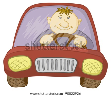 Cartoon, car with a man driver, isolated on white - stock photo