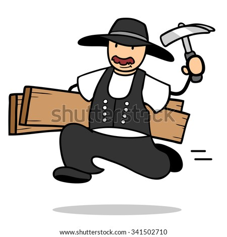 Cartoon carpenter running with wood and tools - stock photo