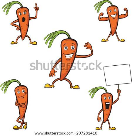 cartoon carrots on white background - stock photo